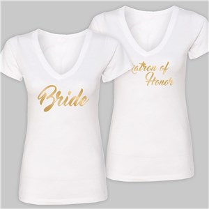 Personalized Bridal Party White V-Neck T-Shirt | Personalized Bridal Party Shirts