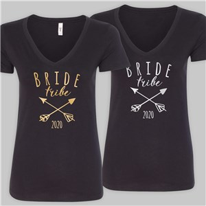 Personalized Bride Tribe Black V-Neck T-Shirt | Personalized Wedding Gifts