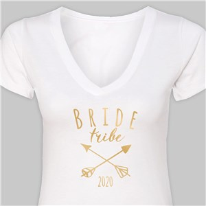 Personalized Bride Tribe White V-Neck T-Shirt | Personalized T-shirts