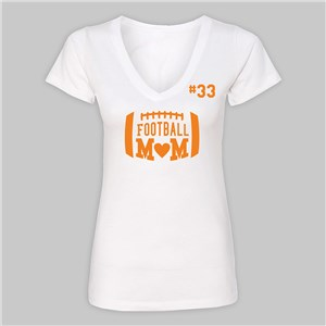 Personalized Football Mom White V-Neck T-Shirt VN310617X