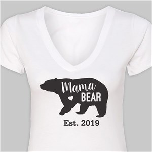 Personalized Mama Bear V-Neck T-Shirt | Personalized Mom Shirt
