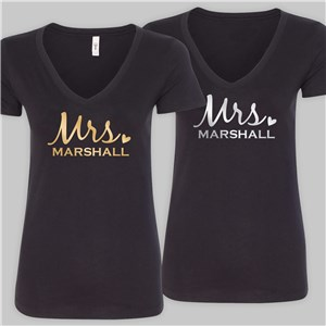 Personalized Mrs. Black V-Neck T-Shirt | Personalized Mrs T Shirts