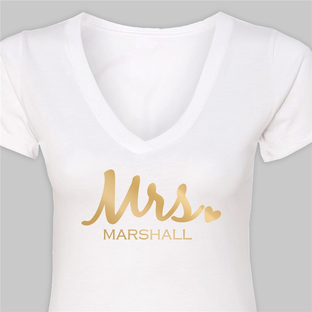 Personalized Mrs. White V-Neck T-Shirt | Personalized Mrs T Shirt