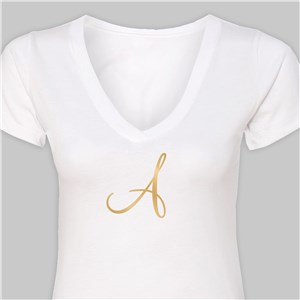 Personalized Initial White V-Neck T-Shirt VN39906WHX