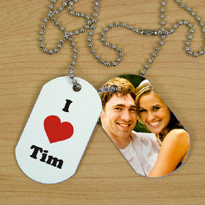I Love Photo Dog Tags | Personalized Valentine's Gifts For Him