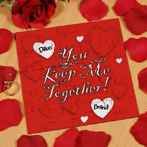 Keep Me Together Personalized Square Shaped Wood Jig Saw Puzzle