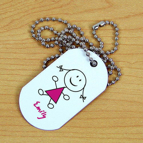 Stick Figure Personalized Dog Tag