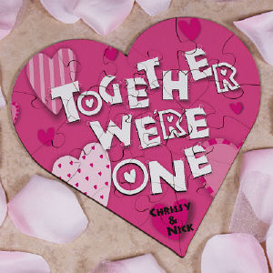 Together We're One Personalized Heart Shaped Wood Jig Saw Puzzle