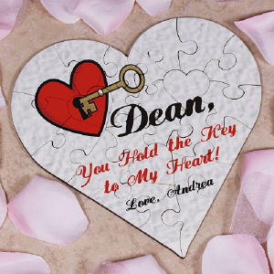 You Hold the Key to my Heart Personalized Heart Shaped Wood Jig Saw Puzzle