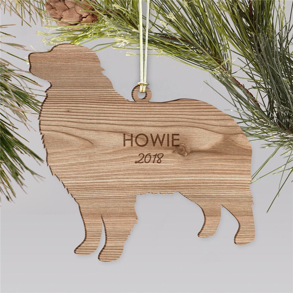 Engraved Dog Breeds Wood Cut Ornament | Personalized Pet Ornaments