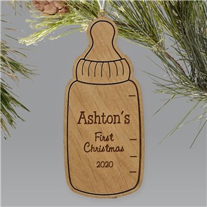 Baby Bottle Engraved Wooden Ornament | Baby's First Christmas Ornaments