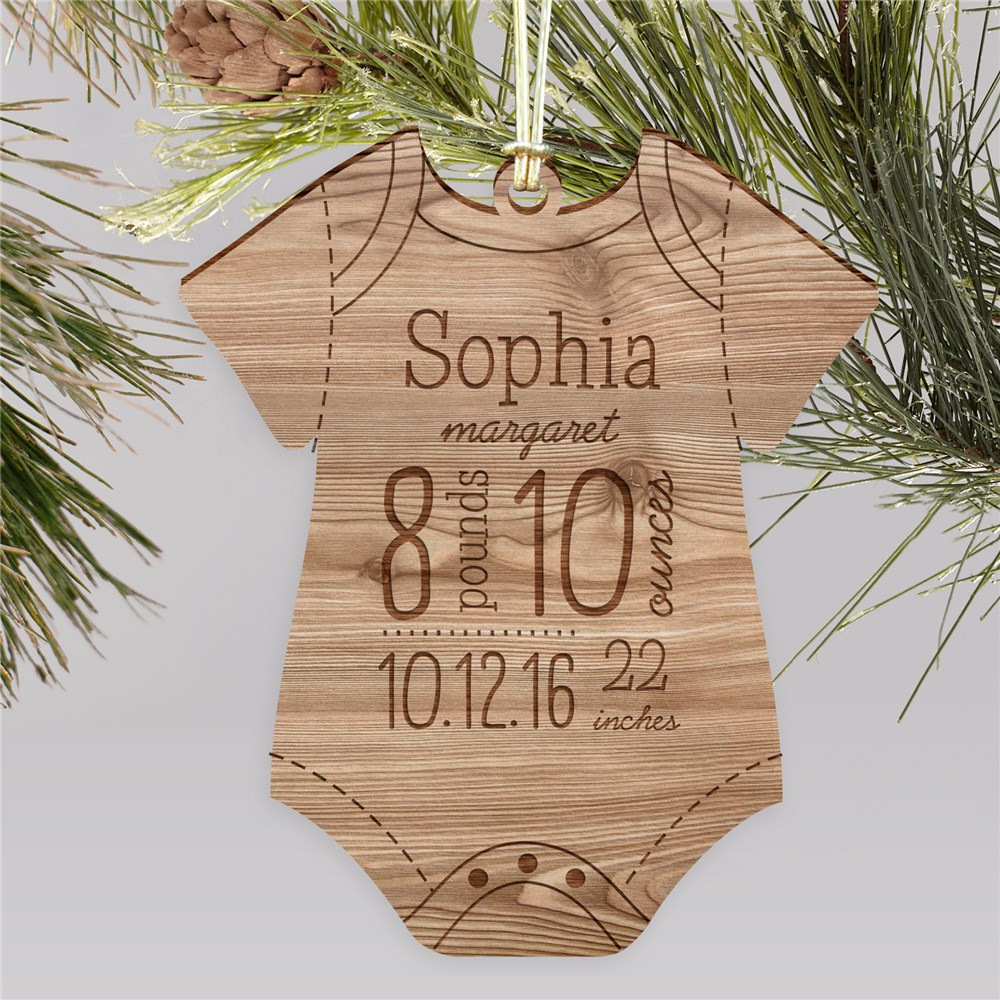 Baby Onesie Wood Cut Engraved Ornament | Baby's First Christmas Ornaments
