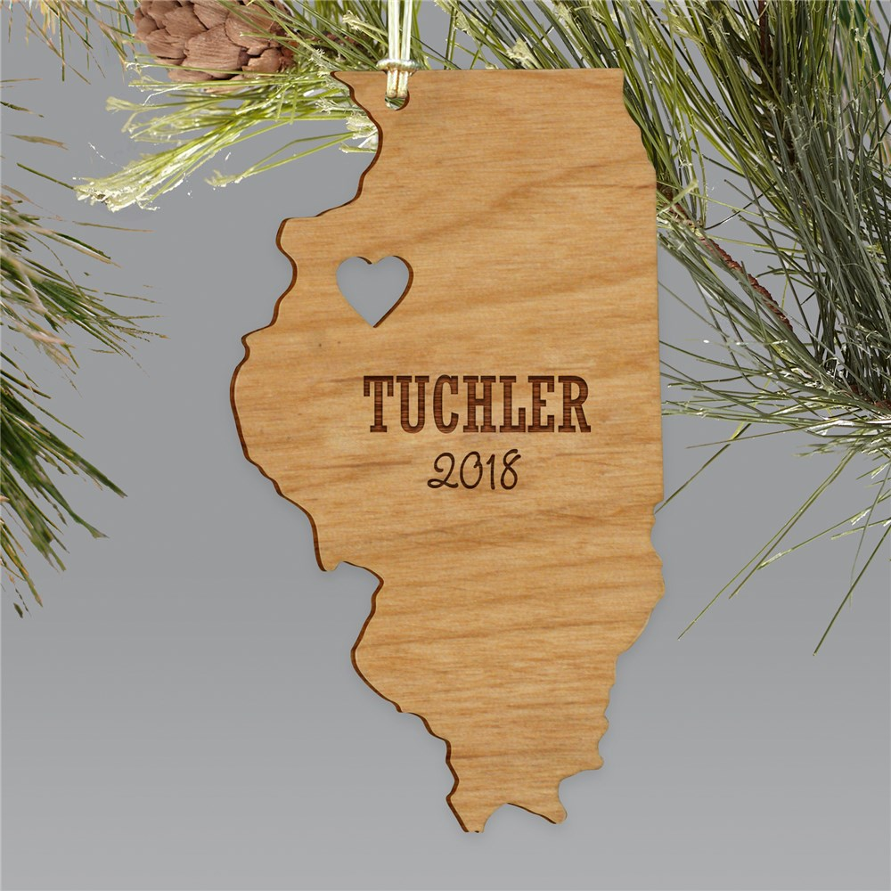 Engraved State Shape Ornament | Customized Christmas Ornament