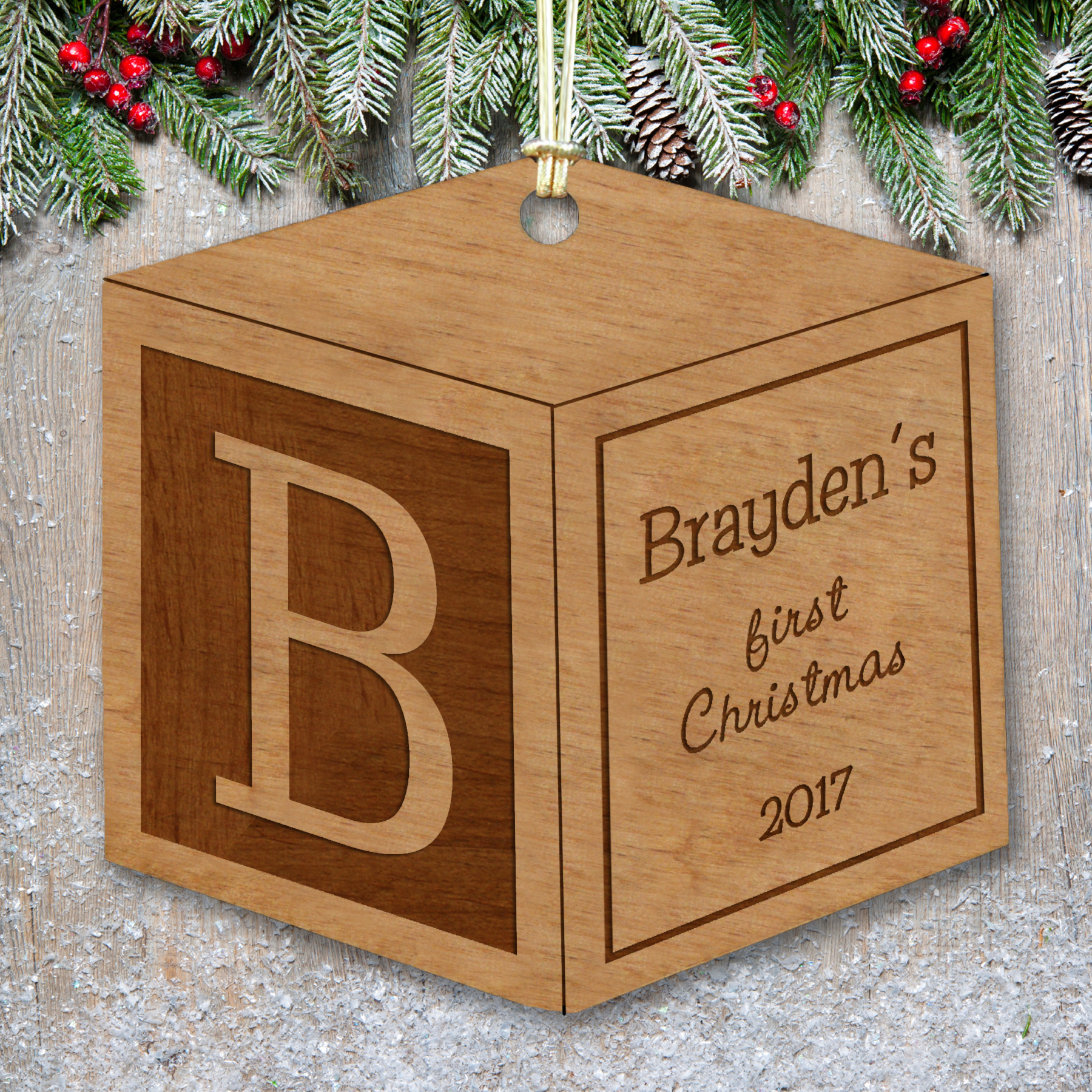 Engraved Wood Baby Block Ornament | Baby's First Christmas Ornaments