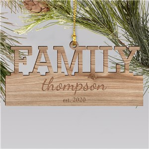 Engraved Family Wood Cut Ornament | Personalized Family Christmas Ornaments