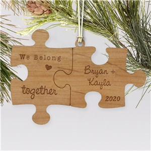 Engraved Couple's Puzzle Wood Cut Ornament | Personalized Couples Ornament