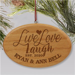 Engraved Live, Laugh, Love Wood Oval Couples Ornament | Personalized Couples Ornament