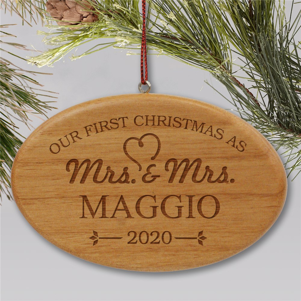 Engraved Our First Christmas Wood Oval Wedding Ornament | Personalized Newlywed Gift