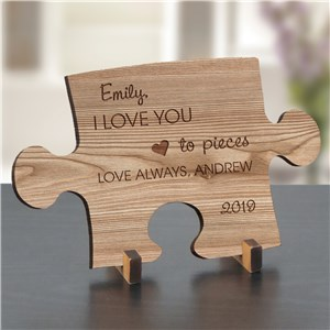 Engraved Love You To Pieces Wood Puzzle Piece | Personalized Gifts For Her