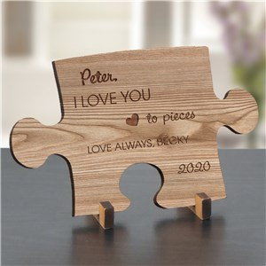 Engraved Love You To Pieces Wood Puzzle Piece W110141