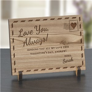 Engraved Love You Always Wood Postcard | Personalized Valentine's Day Presents