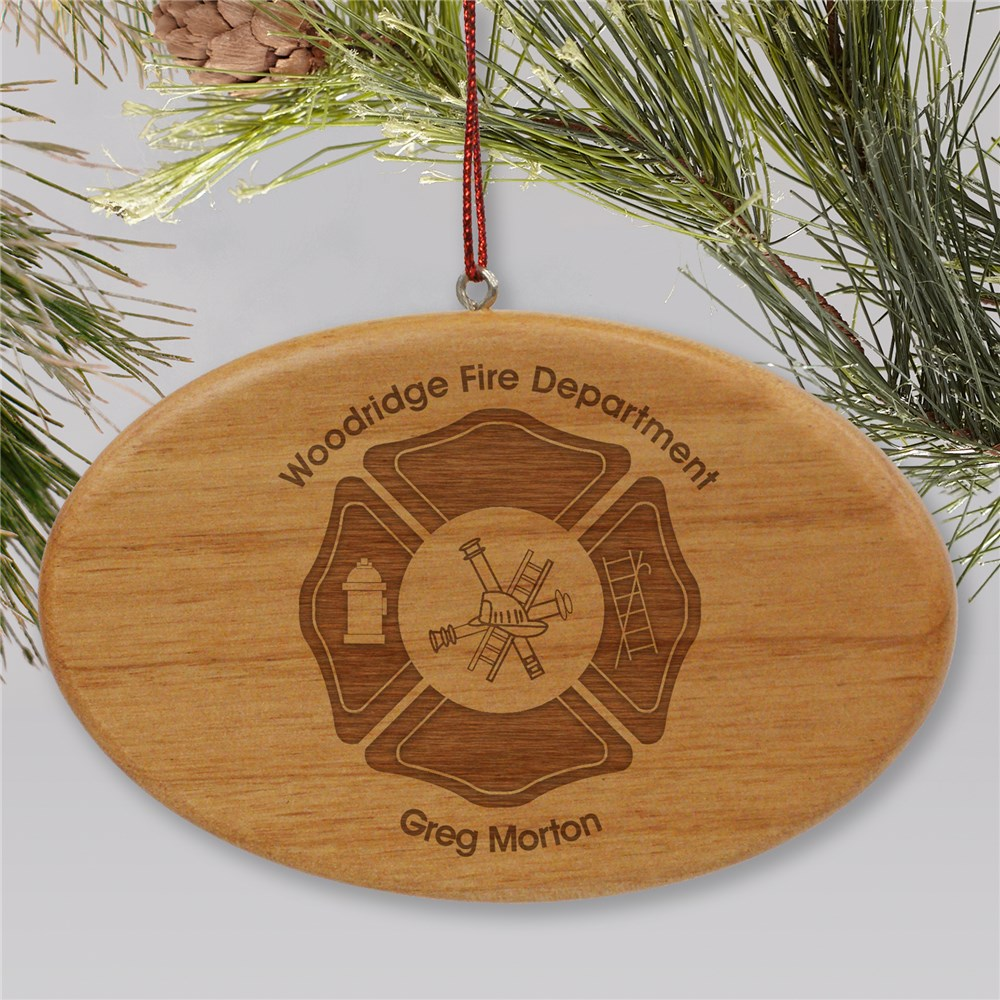 Engraved Fire Department Wooden Oval Ornament W11122