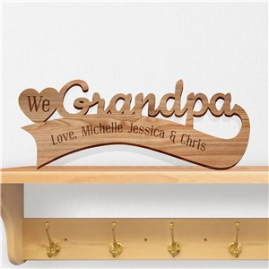 Engraved We Heart Grandpa Wood Plaque | Engraved Father's Day Gifts For Grandpa