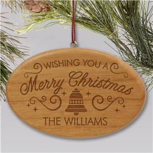 Engraved Merry Christmas Ornament | Wood Engraved Family Ornament