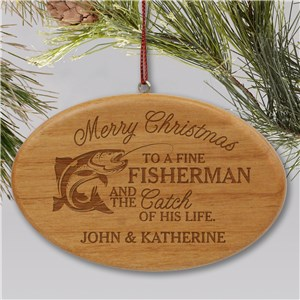 Wood Fisherman Ornaments | Engraved Wood Ornaments For Fishermen