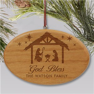 Engraved God Bless Ornament | Wood Ornament For Family