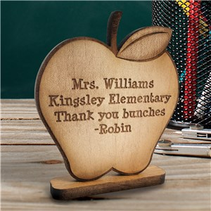 Engraved Wooden Apple | Personalized Teacher Keepsake