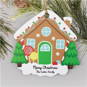 Personalized Gingerbread House Wooden Ornament W154440