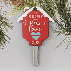 Personalized First Christmas In Our New Home Wooden Key Ornament W154450
