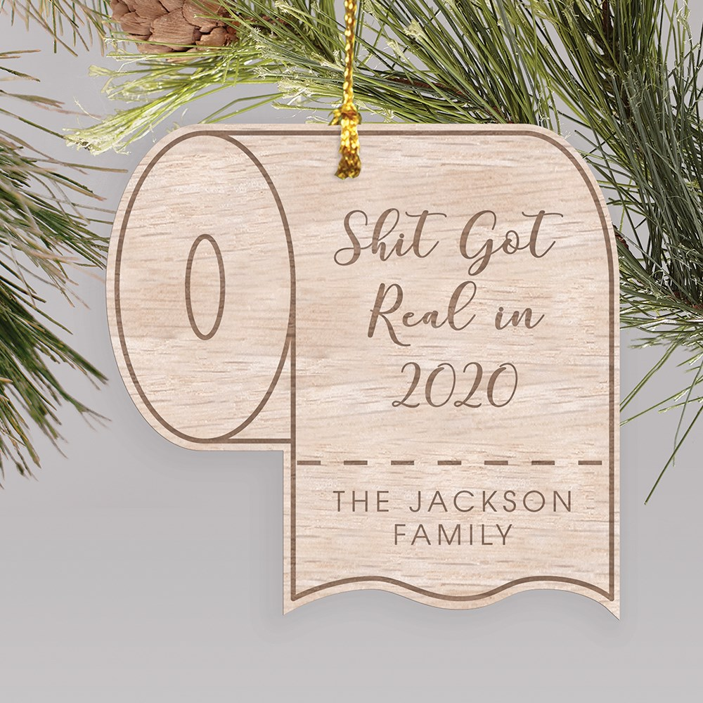 Engraved Toilet Paper Wood Cut Covid Ornament