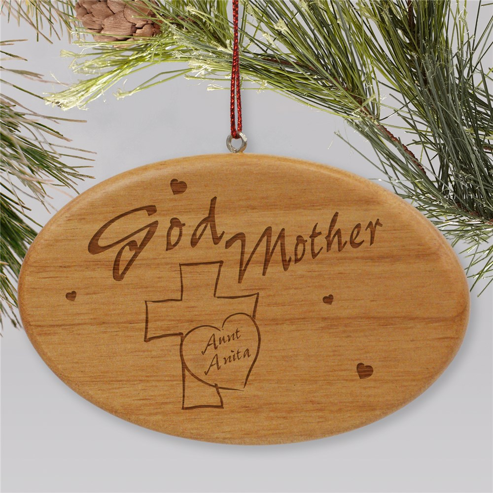 Engraved Godmother Wooden Oval Ornament | Personalized Ornament