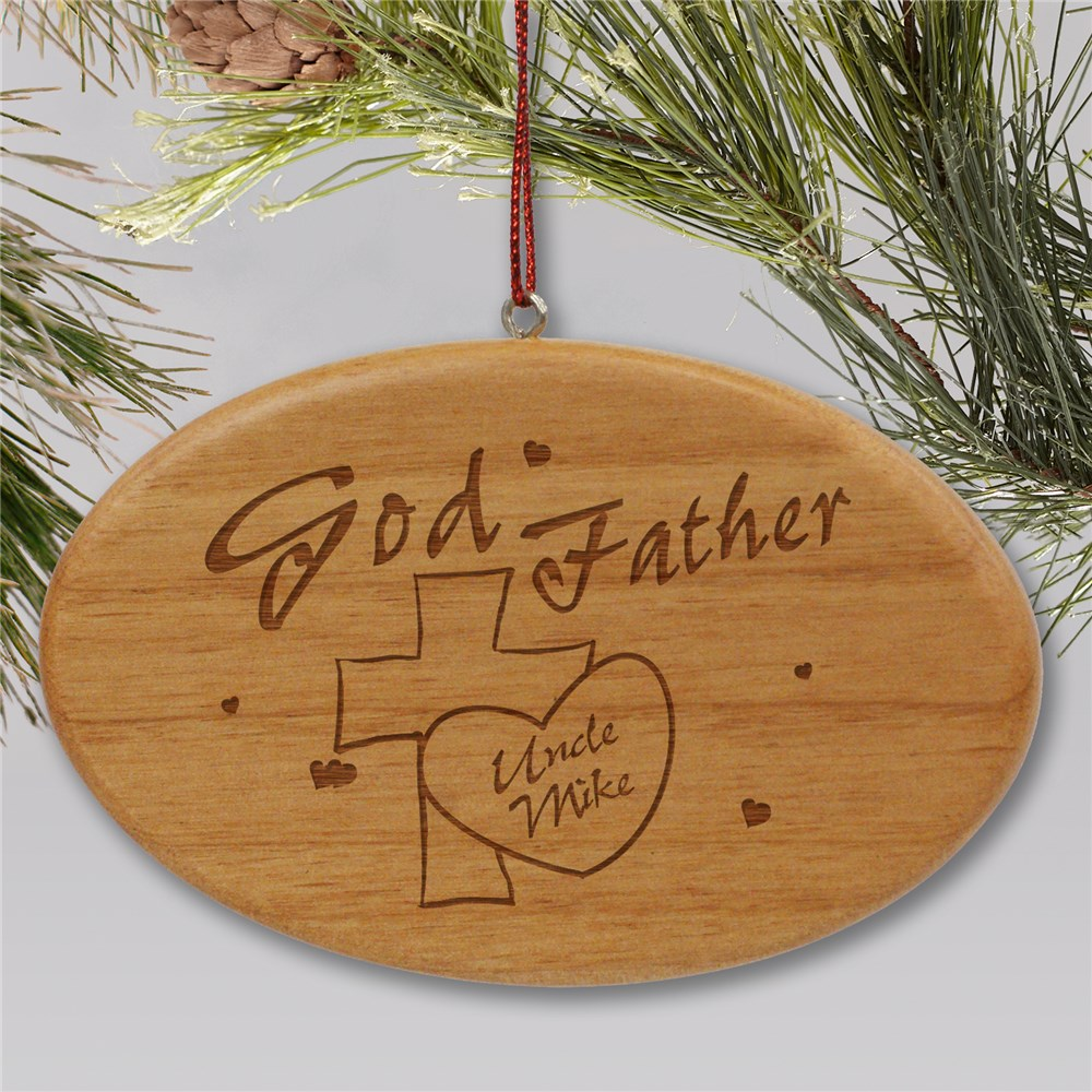 Engraved Godfather Wooden Oval Ornament | Personalized Ornaments