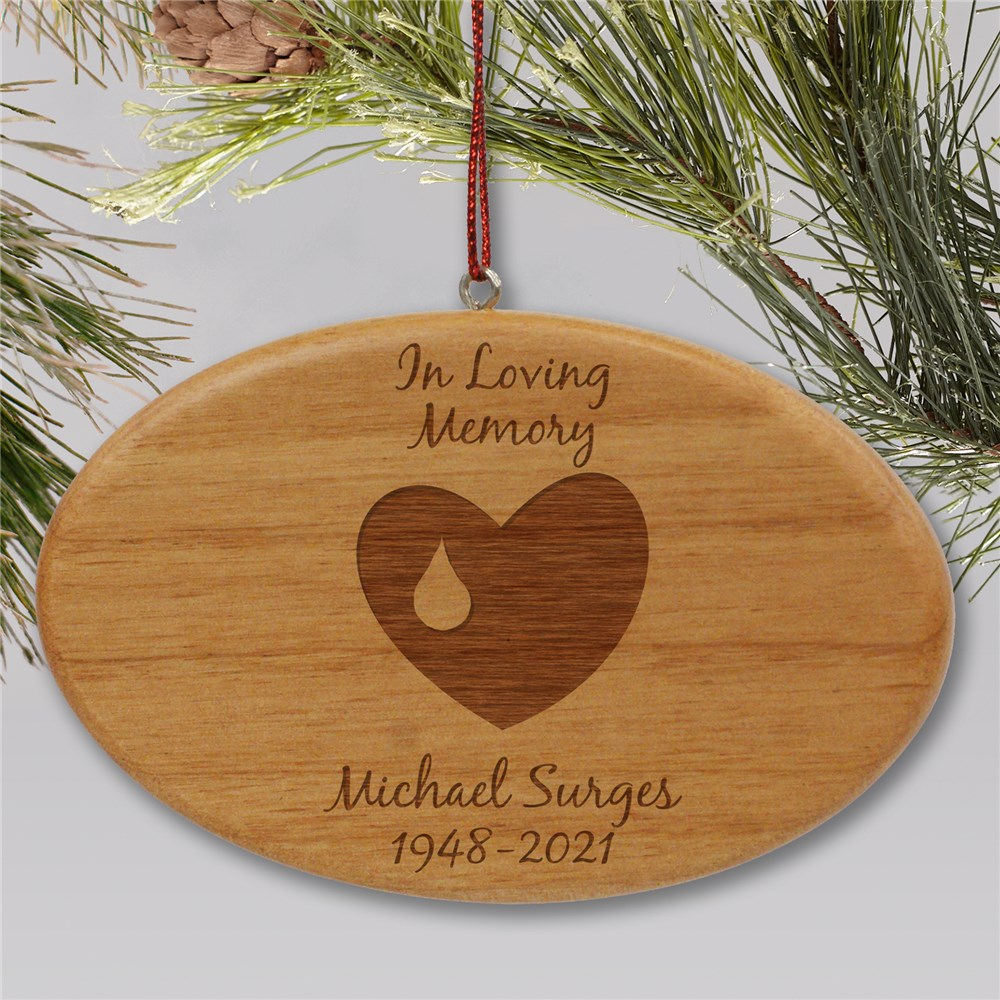 Engraved In Loving Memory Memorial Ornament | Wooden Oval | Personalized Memorial Ornaments