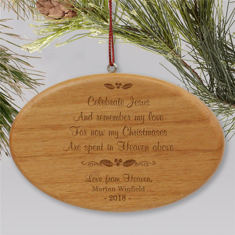 Engraved Christmas In Heaven Memorial Oval Wooden Ornament | Memorial Ornaments