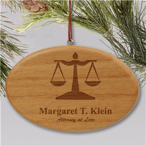 Engraved Lawyer Wooden Oval Ornament W27072