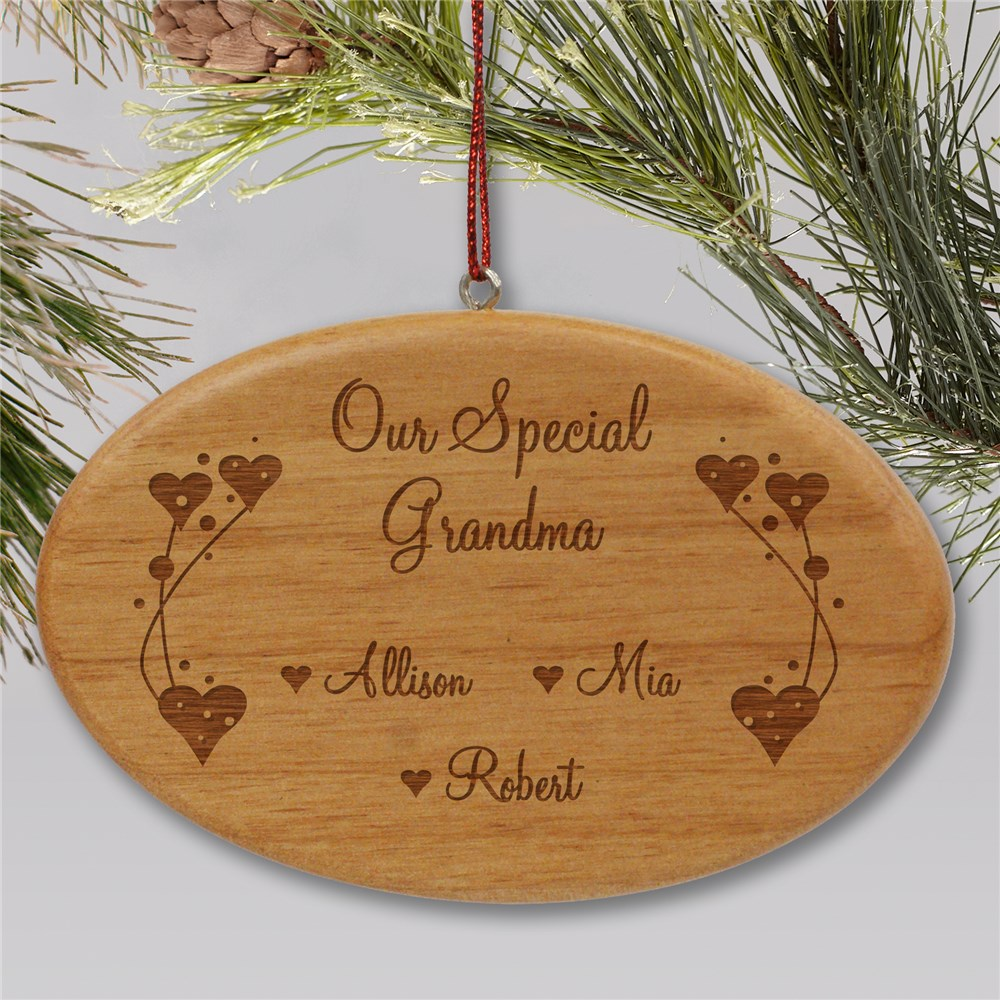 Engraved Grandma Wooden Oval Ornament | Personalized Family Christmas Ornaments