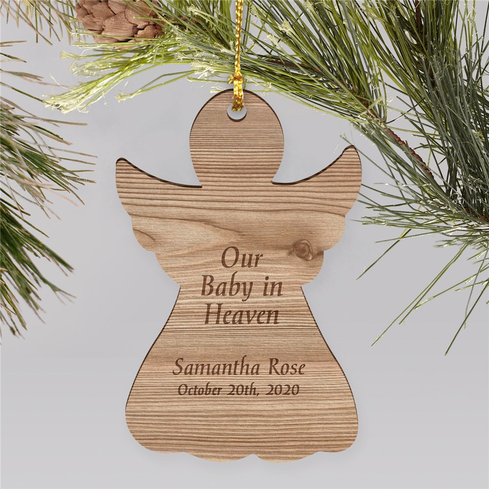 Baby In Heaven Engraved Memorial Ornament | Wood | Personalized Memorial Ornaments