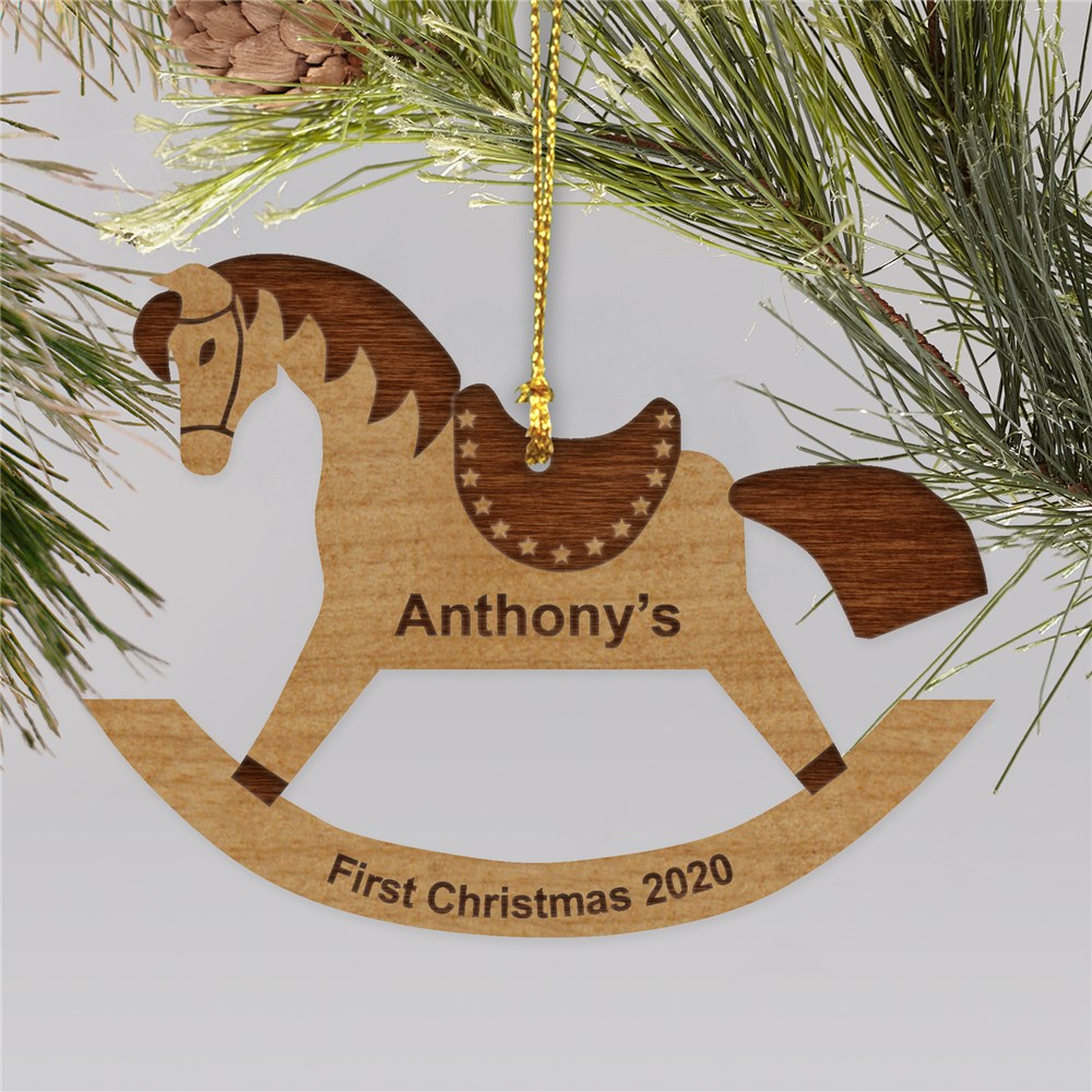 Personalized Rocking Horse Wood Ornament | Personalized Christmas Ornaments For Kids