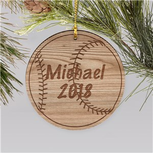 Wooden Personalized Baseball Christmas Ornament | Personalized Baseball Ornaments