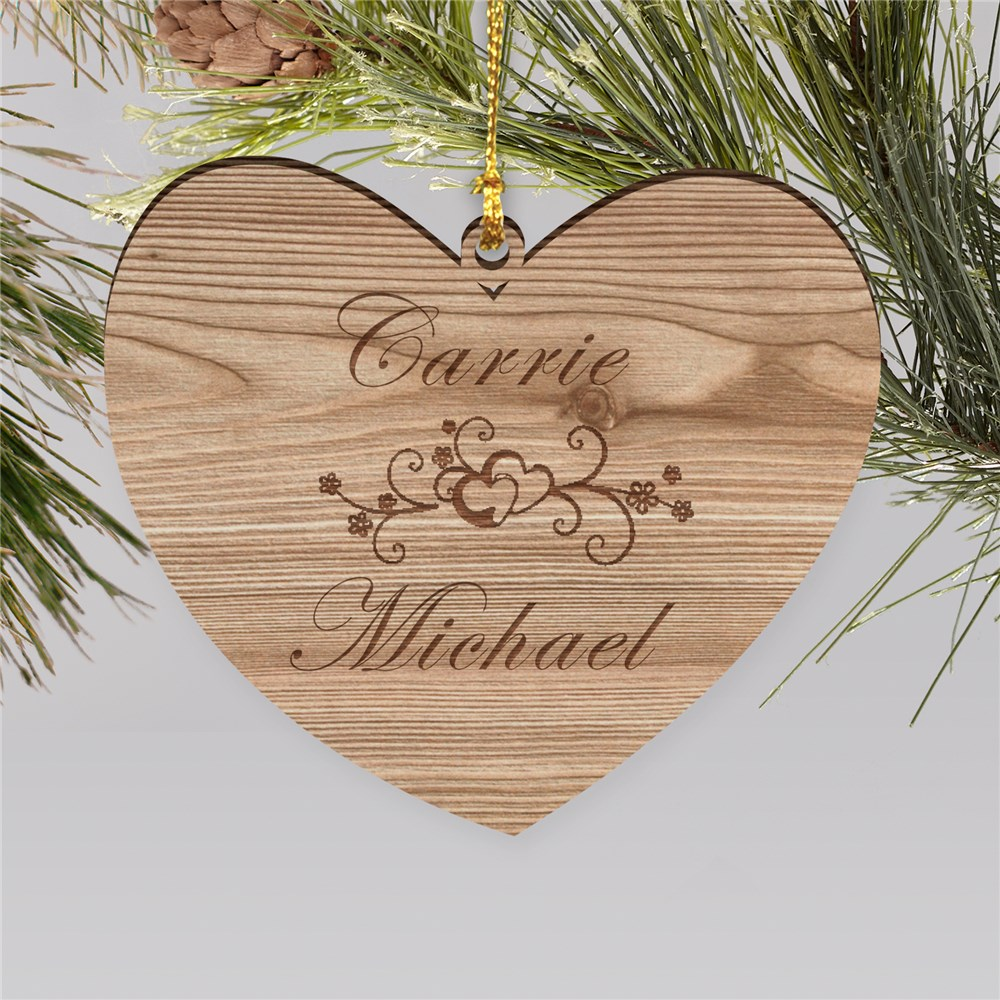Personalized Couples Wooden Heart Christmas Ornament | Personalized Couples Ornaments