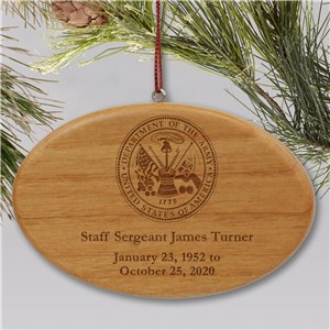 Engraved U.S. Army Memorial Ornament | Memorial Ornament