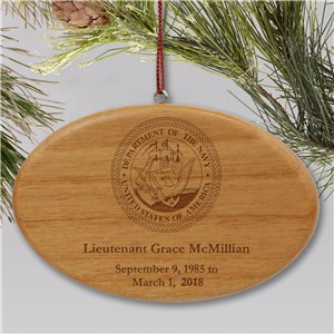 Engraved U.S. Navy Memorial Ornament | Wooden Oval | Personalized Military Christmas Ornaments