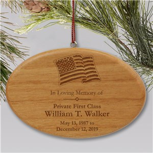 Engraved Military Memorial Ornament | Wooden Oval | Memorial Christmas Ornaments