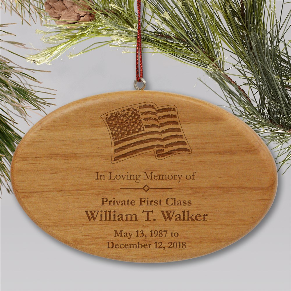 Engraved Military Memorial Wooden Oval Ornament | Memorial Christmas Ornaments