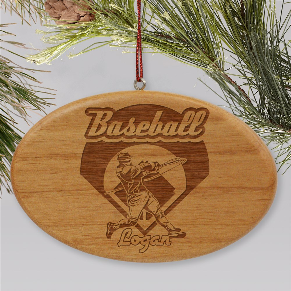Engraved Baseball Wooden Oval Ornament | Personalized Baseball Ornaments