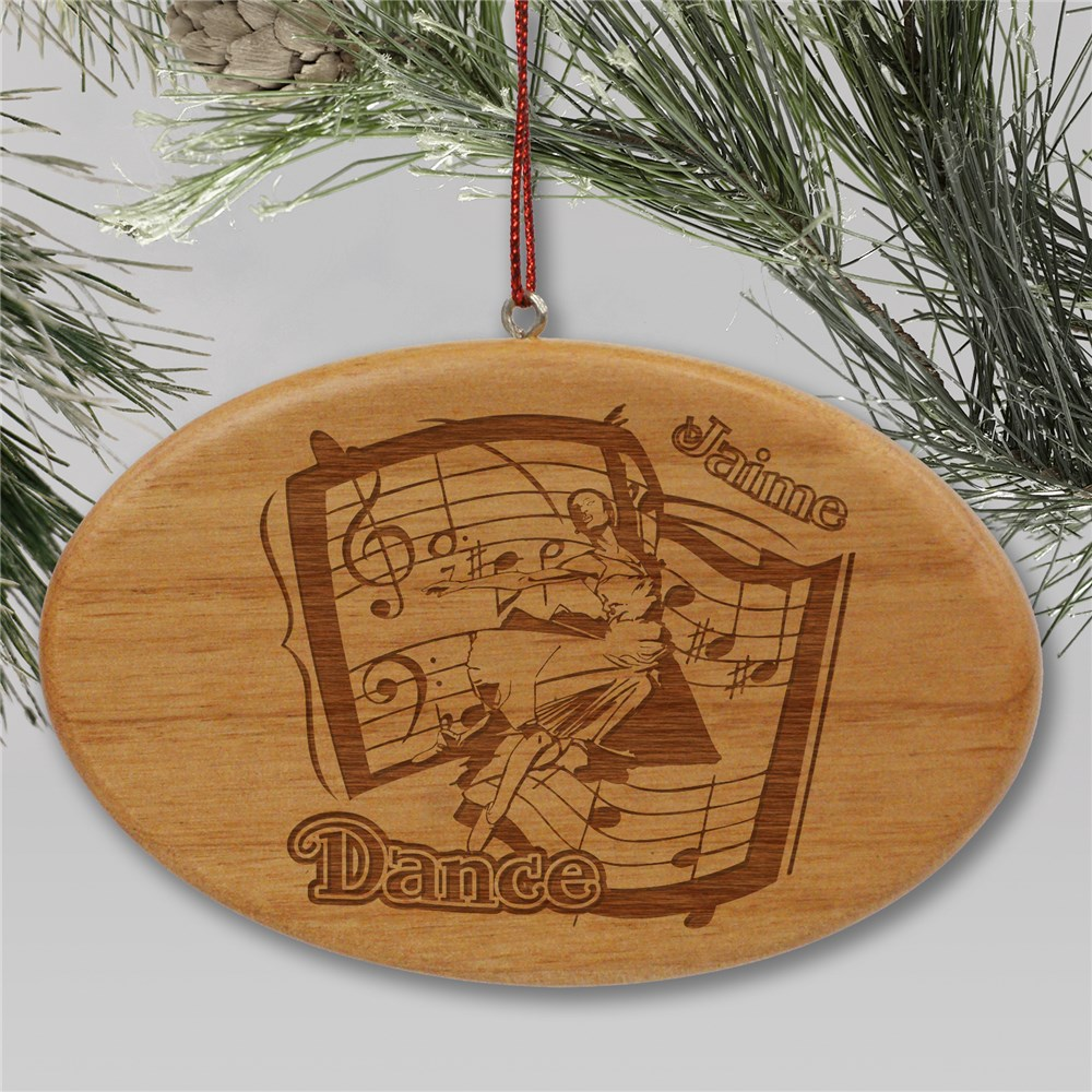 Engraved Dance Wooden Oval Ornament | Personalized Dance Ornament